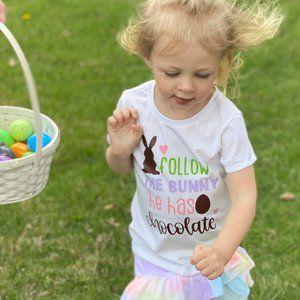 Follow the Bunny He Has Chocolate Kids Shirt